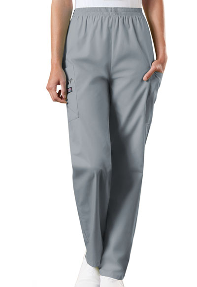 Cherokee Workwear WW Originals Women's Natural Rise Tapered LPull-On Cargo Pant Gray