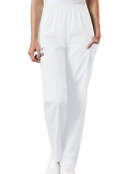 WW Originals Women's Natural Rise Tapered Pull-On Cargo Pant White