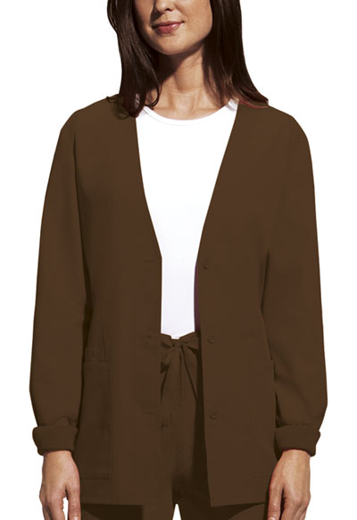 Cherokee Workwear WW Originals Women's Cardigan Warm-Up Jacket Brown