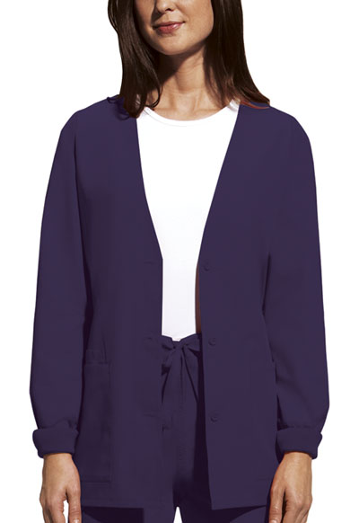 Cherokee Workwear WW Originals Women's Cardigan Warm-Up Jacket Purple