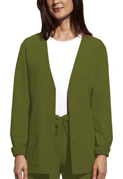 Cherokee Workwear WW Originals Women's Cardigan Warm-Up Jacket Green