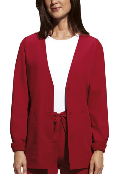 Cherokee Workwear WW Originals Women's Cardigan Warm-Up Jacket Red