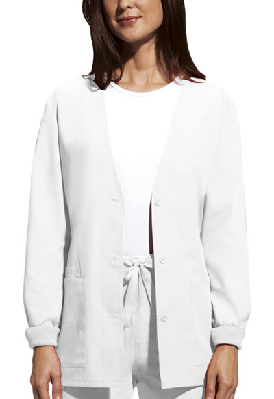 Cherokee Workwear WW Originals Women's Cardigan Warm-Up Jacket White
