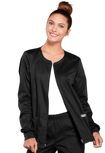 WW Core Stretch Women\'s Zip Front Warm-Up Jacket Black