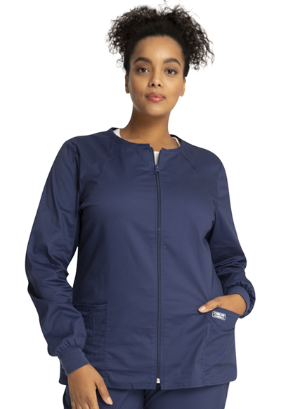 Cherokee Workwear WW Core Stretch Women's Zip Front Warm-Up Jacket Blue