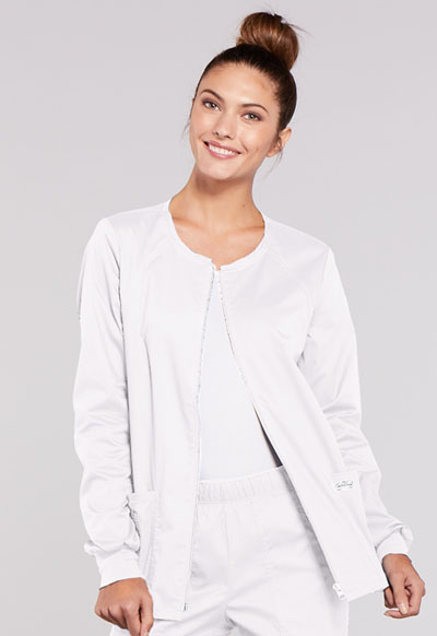 WW Premium Women's Zip Front Warm-Up Jacket White