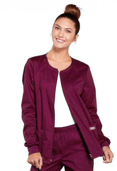 Cherokee Workwear WW Core Stretch Women's Zip Front Warm-Up Jacket Purple