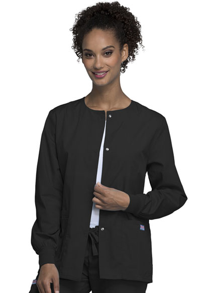 Cherokee Workwear WW Originals Women's Snap Front Warm-Up Jacket Black