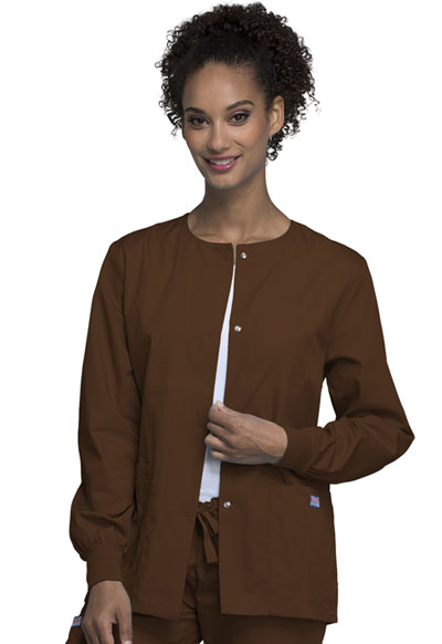 Cherokee Workwear WW Originals Women's Snap Front Warm-Up Jacket Brown
