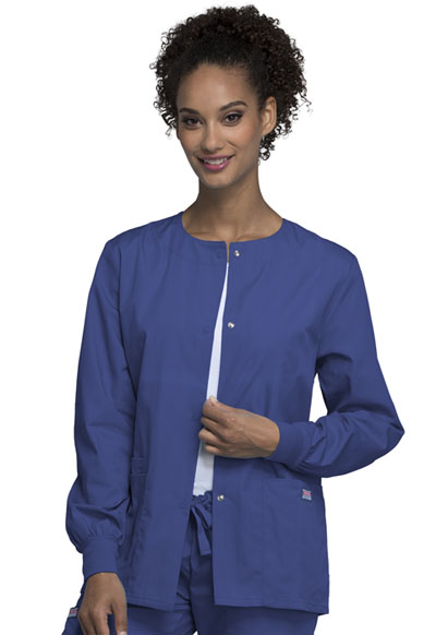 Cherokee Workwear WW Originals Women's Snap Front Warm-Up Jacket Blue