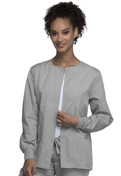 Cherokee Workwear WW Originals Women's Snap Front Warm-Up Jacket Grey