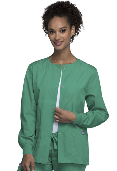 Cherokee Workwear WW Originals Women's Snap Front Warm-Up Jacket Green