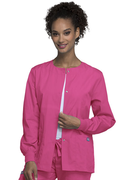 Cherokee Workwear WW Originals Women's Snap Front Warm-Up Jacket Pink