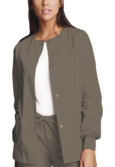 Cherokee Workwear WW Originals Women's Snap Front Warm-Up Jacket Neutral