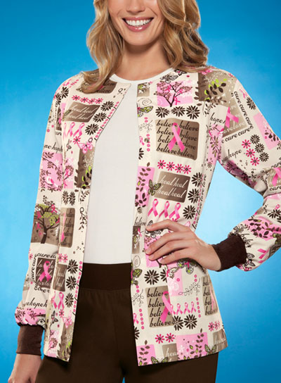 Scrub HQ Cherokee Prints Women's Snap Front Warm-Up Jacket Khaki