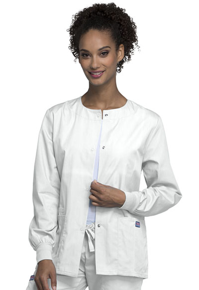 Cherokee Workwear WW Originals Women's Snap Front Warm-Up Jacket White