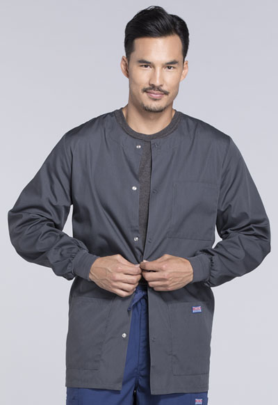 Cherokee Workwear WW Originals Men's Men's Snap Front Warm-Up Jacket Grey
