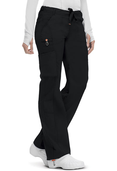 Code Happy Bliss Women's Low Rise Straight Leg Drawstring Pant Black