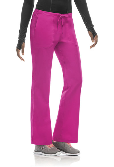 Bliss Women's Mid Rise Moderate Flare Drawstring Pant Pink