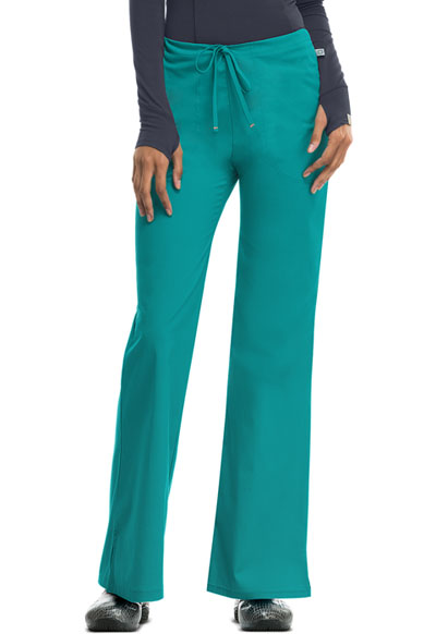Bliss Women's Mid Rise Moderate Flare Drawstring Pant Green