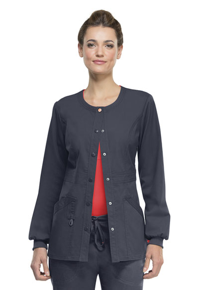 Code Happy Bliss Women's Snap Front Warm-up Jacket Gray