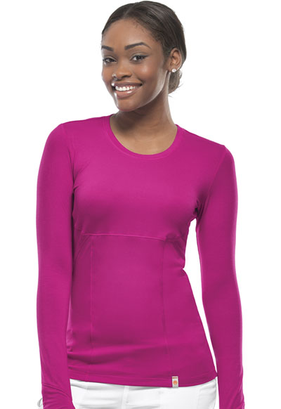 Code Happy Bliss Women's Long Sleeve Underscrub Knit Tee Pink