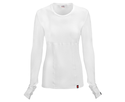 Code Happy Bliss Women's Long Sleeve Underscrub Knit Tee White