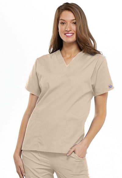 Cherokee Workwear WW Originals Women's V-Neck Top Khaki