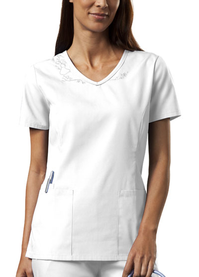 Cherokee Workwear WW Originals Women's V-Neck Embroidered Top White