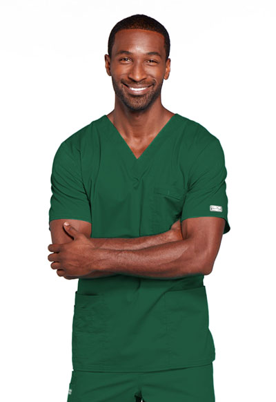 Cherokee Workwear WW Core Stretch Unisex Unisex V-Neck Top Green