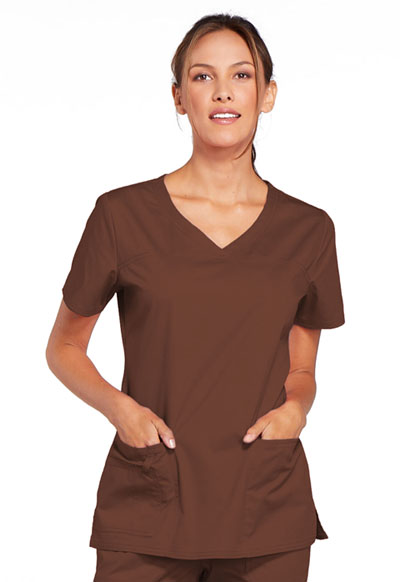 Cherokee Workwear WW Core Stretch Women's V-Neck Top Brown