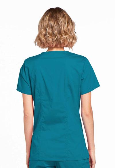 Caribbean Blue Cherokee Scrubs Workwear Core Stretch Mock Wrap Top 4728 CARW