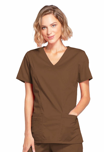 WW Core Stretch Women\'s Mock Wrap Top Brown