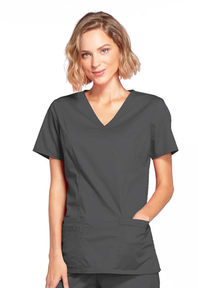 Cherokee Workwear WW Core Stretch Women's Mock Wrap Top Grey