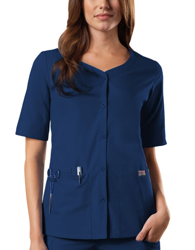 WW Originals Women's Button Front Top Blue