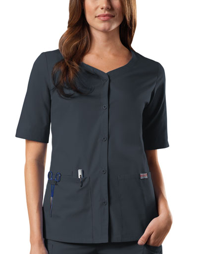 Cherokee Workwear WW Originals Women's Button Front Top Grey