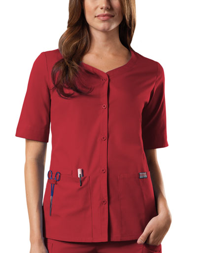 WW Originals Women's Button Front Top Red