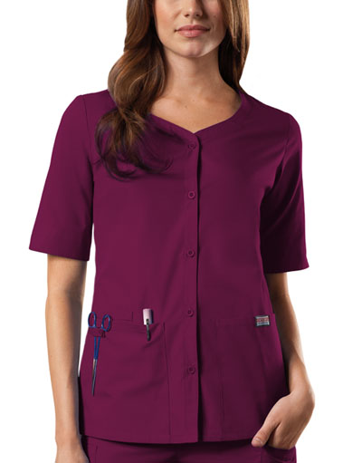 Cherokee Workwear WW Originals Women's Button Front Top Purple