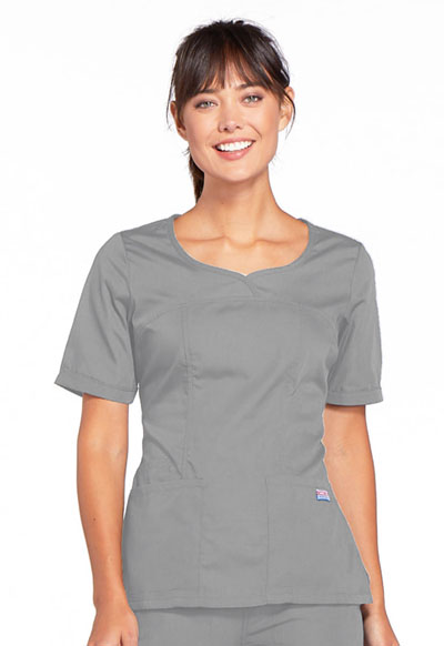 Cherokee Workwear WW Originals Women's V-Neck Top Grey