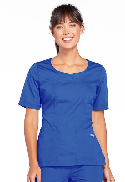 Cherokee Workwear WW Originals Women's V-Neck Top Blue