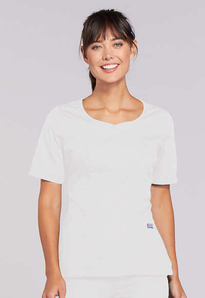 Cherokee Workwear WW Originals Women's V-Neck Top White
