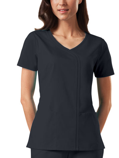 Cherokee Workwear WW Originals Women's Mock Wrap Top Black