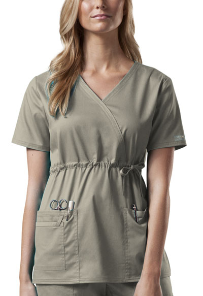 Cherokee Workwear WW Premium Women's Mock Wrap Top Khaki