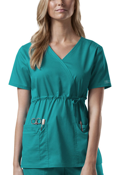 Cherokee Workwear WW Premium Women's Mock Wrap Top Green