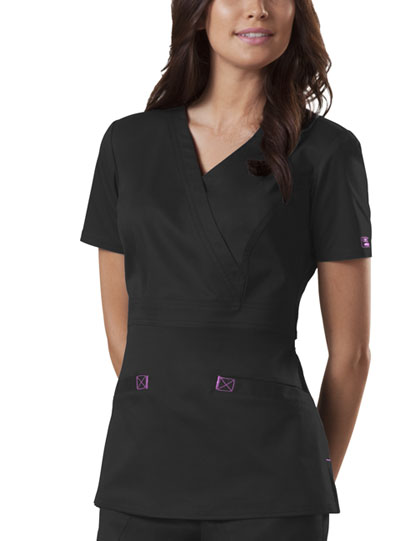 Cherokee Workwear WW Core Stretch Women's Mock Wrap Top Black