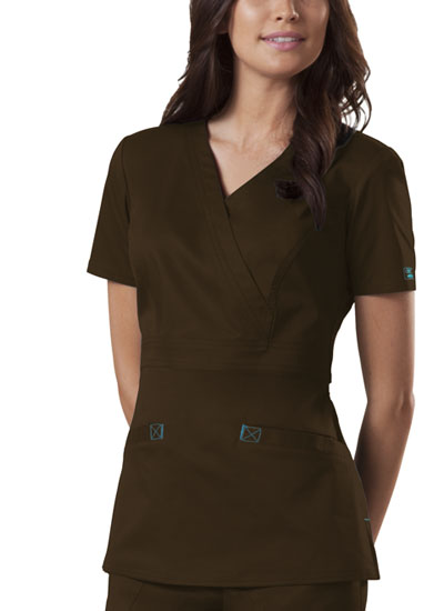 Cherokee Workwear WW Premium Women's Mock Wrap Top Brown