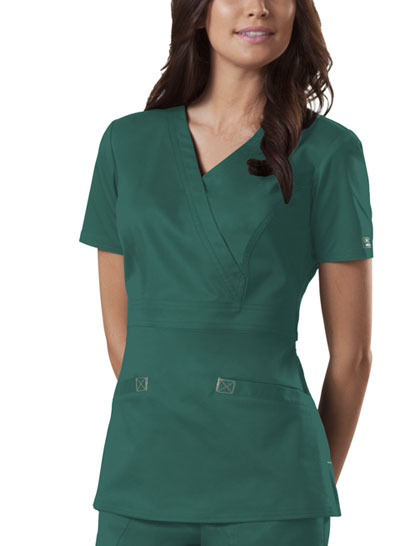 Cherokee Workwear WW Core Stretch Women's Mock Wrap Top Green