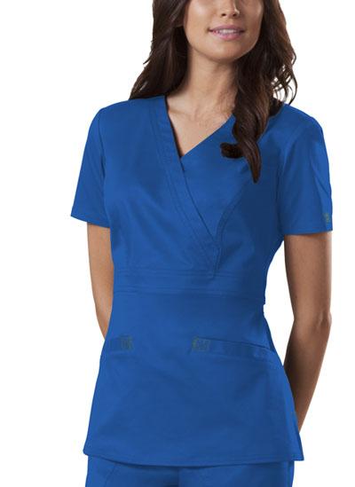 Cherokee Workwear WW Premium Women's Mock Wrap Top Blue