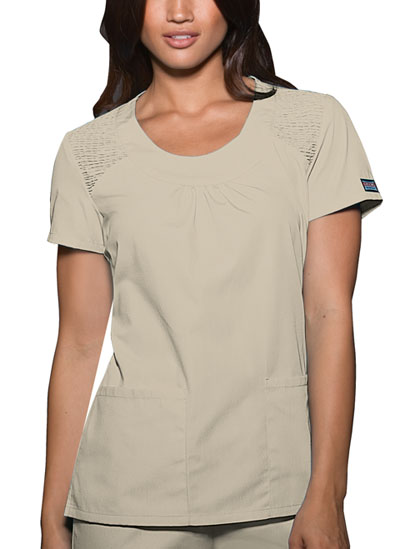 Cherokee Workwear WW Originals Women's Round Neck Top Khaki