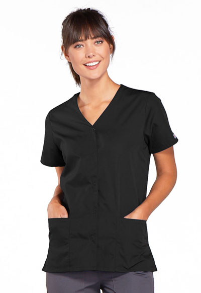 WW Originals Women's Snap Front V-Neck Top Black